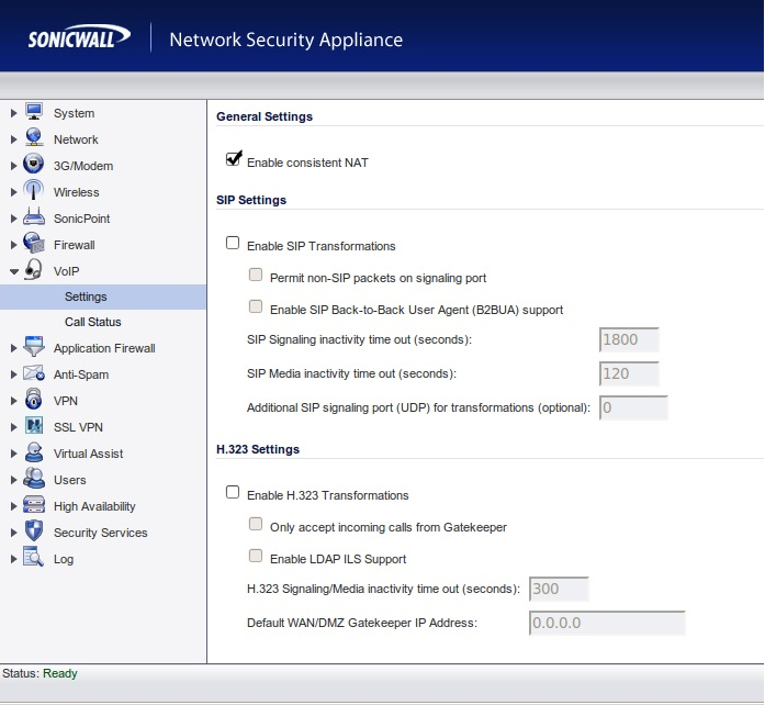 SonicWall - VoIP Settings